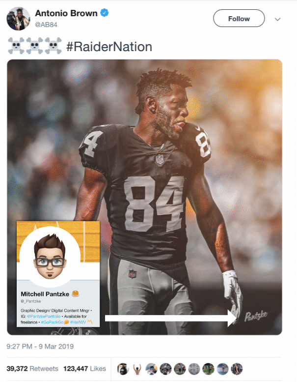 Antonio Brown S Raider Image Created Day In Advance Sports